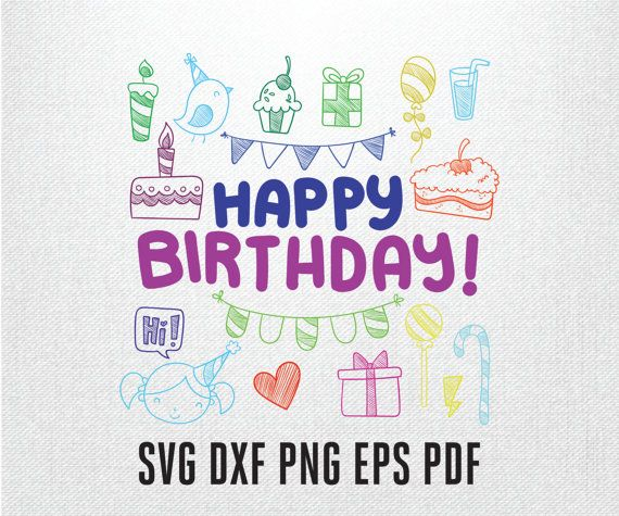 Happy birthday card in Svg Eps Dxf Pdf Ai Png by PrintShapes - birthday cards format