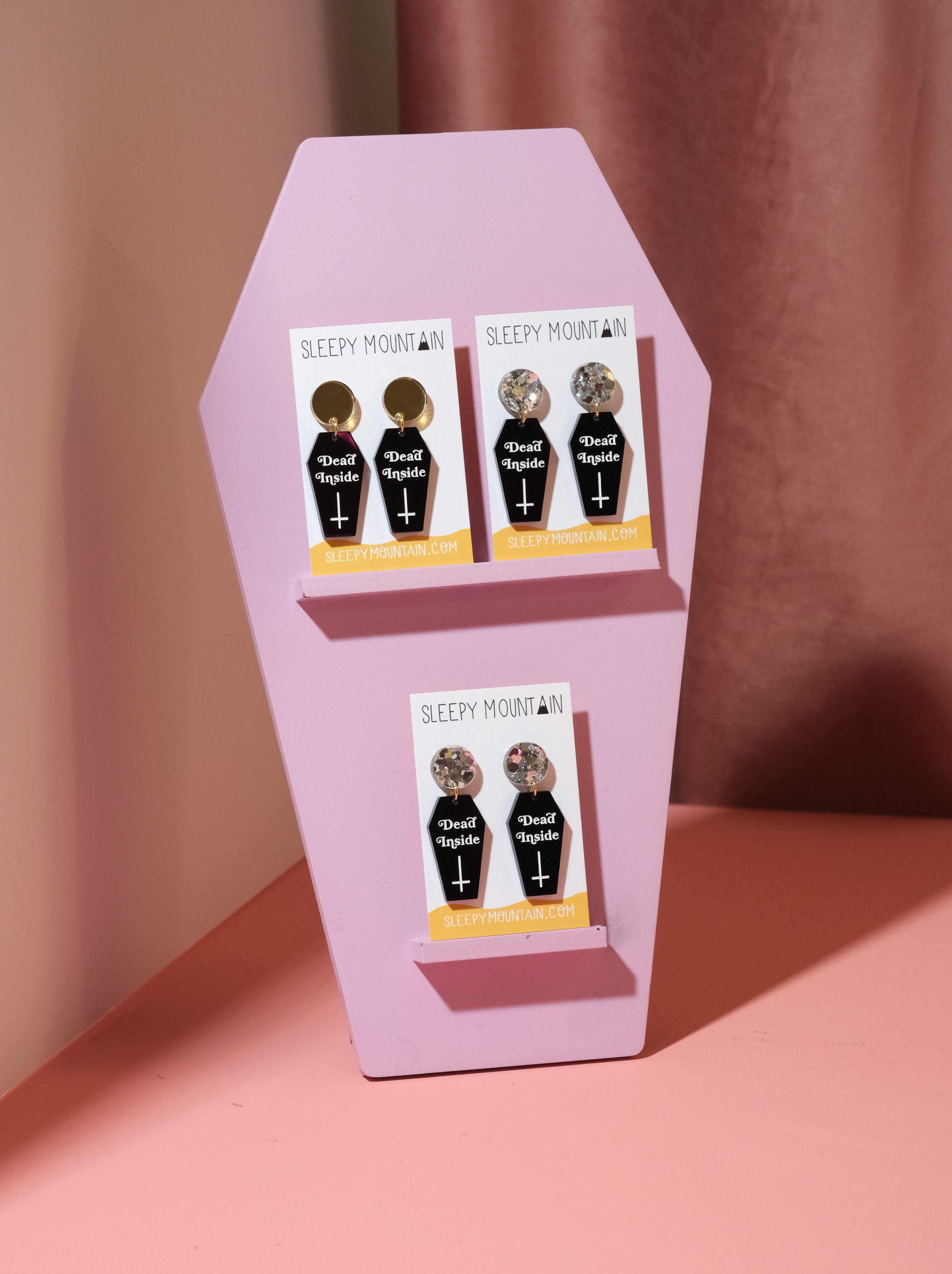 Dead inside coffin shaped earrings Black acrylic earrings with gold or silver top