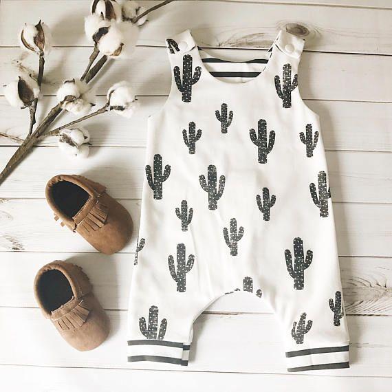 d5881506f Organic Baby Harem Romper - Cactus  Summer Romper