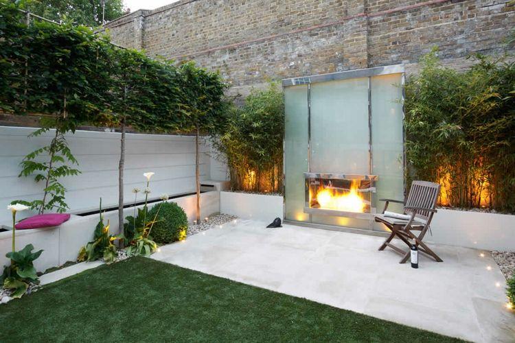 terrassen ideen ein kamin aus glas - Deck Ideen Mit Kamin