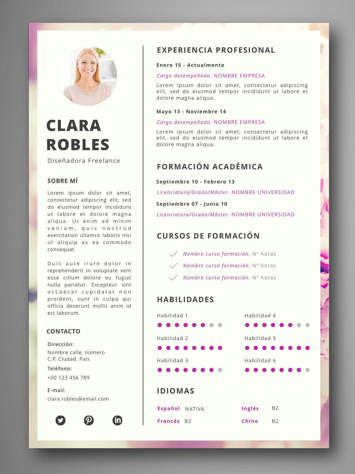 Currículum PRAGA Hojas de vida creativas, Ejemplos de
