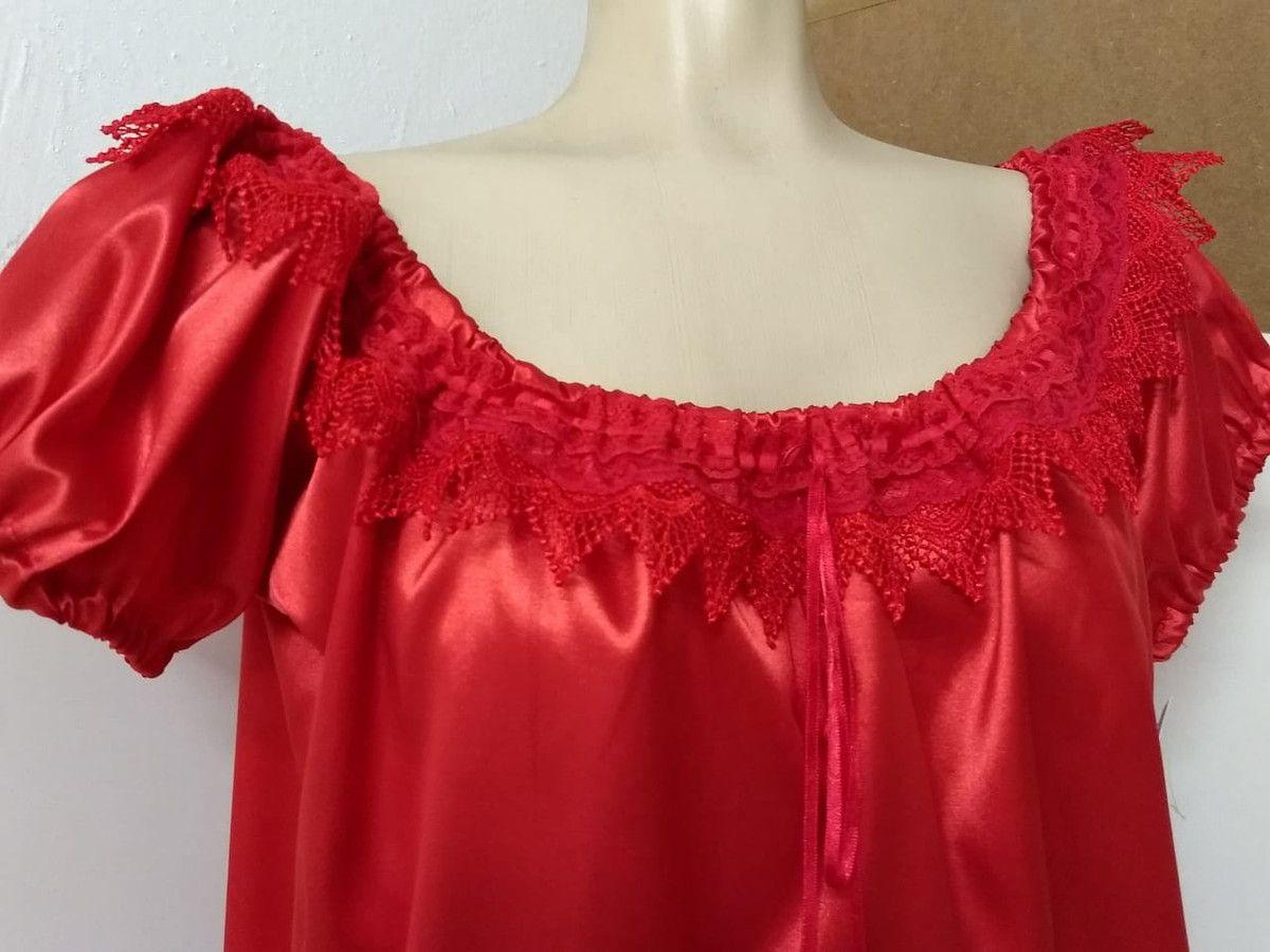 138d111e54 Blusa Ciganinha cetim vermelha no Elo7