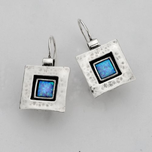Sterling Silver Earrings Unique Design. Sterling Silver Square Hammered Texture Earrings With 6*6 MM Opal
