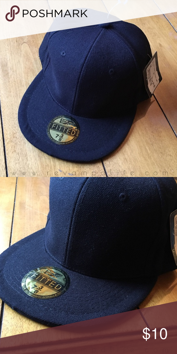 e713f5d1585 NWT Dark Navy Blue 7 3 8 Fitted Flat Brim Hat 🎅🏼 BRAND
