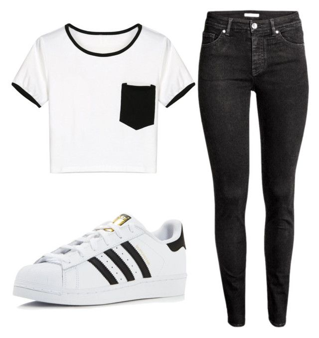 """""""Untitled #123"""" by prissysala ❤ liked on Polyvore featuring WithChic, H&M and adidas"""