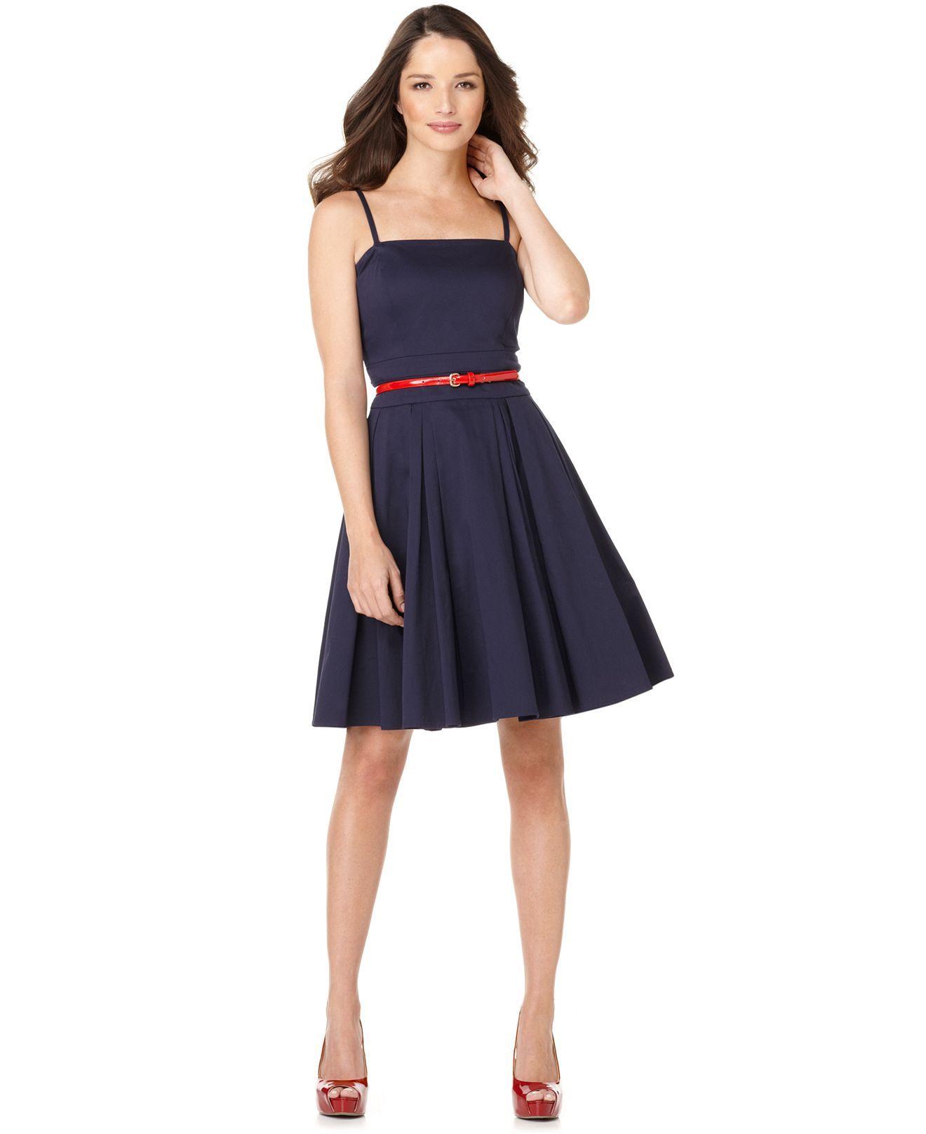 Blue Dress Red Belt Shoes Style Calvin Klein