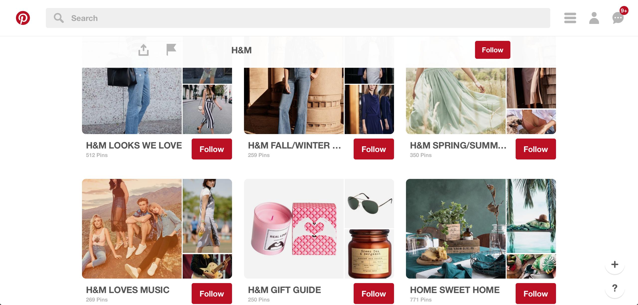 Op de pinterestpagina van H&M is alles duidelijk en overzichtelijk terug te vinden. Elke collectie heeft zijn eigen board waardoor het specifiek zoeken makkelijker wordt. https://www.pinterest.com/hm/?eq=h%26m&etslf=8738