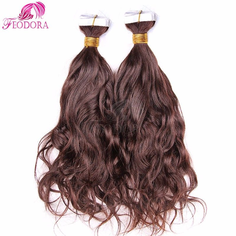 Remy Tape In Human Hair Extensions Natural Wave Skin Weft Hair