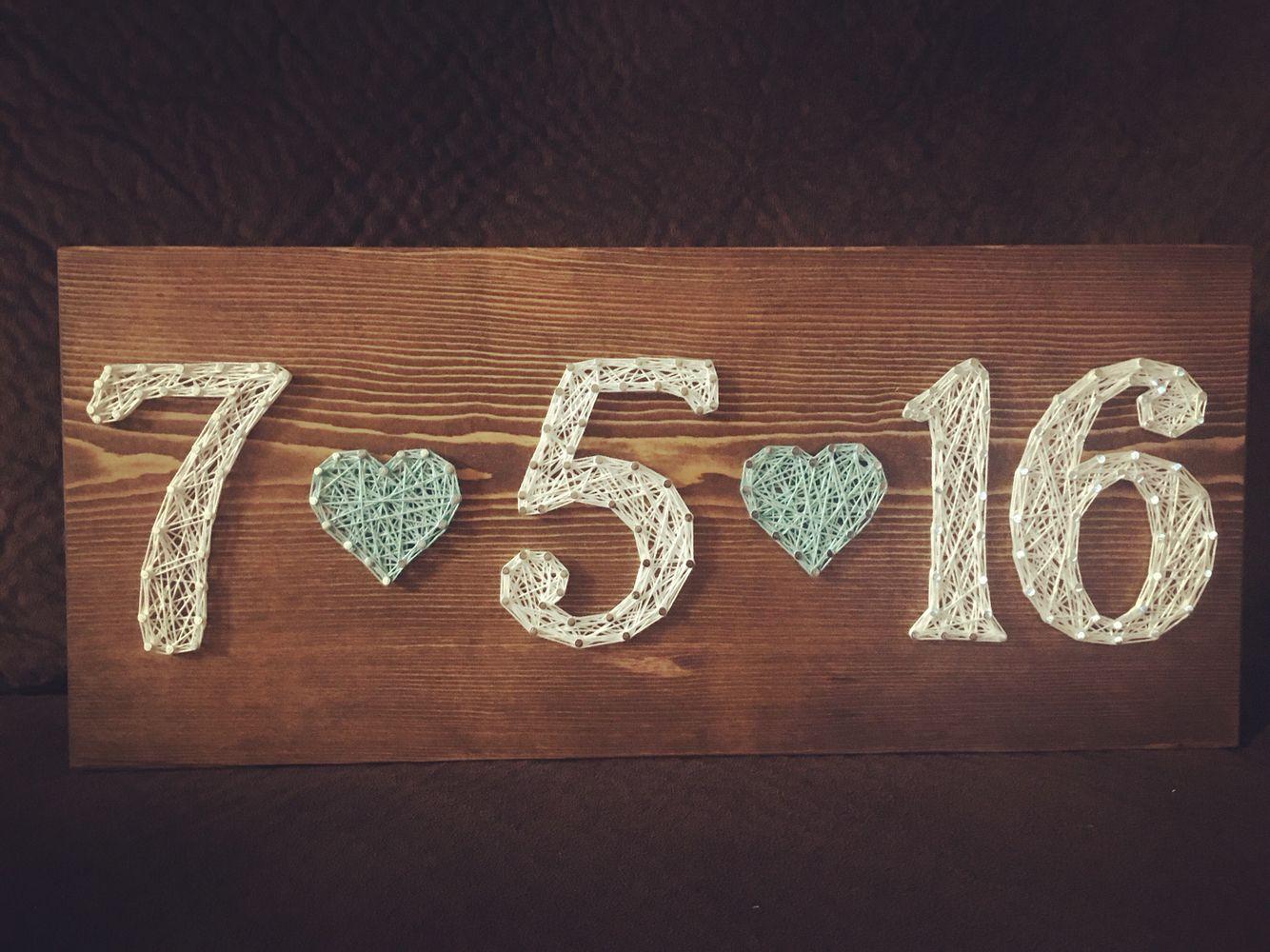 Custom date string art sign wedding anniversary birthday