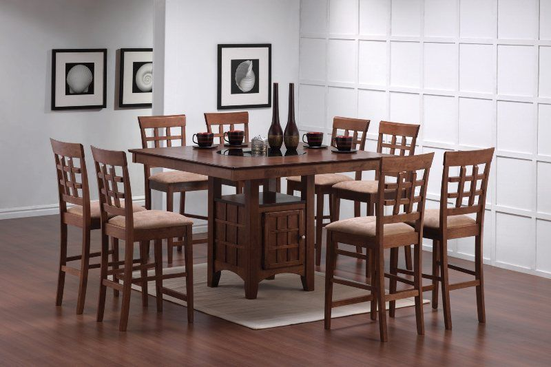 Walnut 9 Pc Counter Height Set w Lazy Susan and Built in Wine Rack 101438 by Coaster