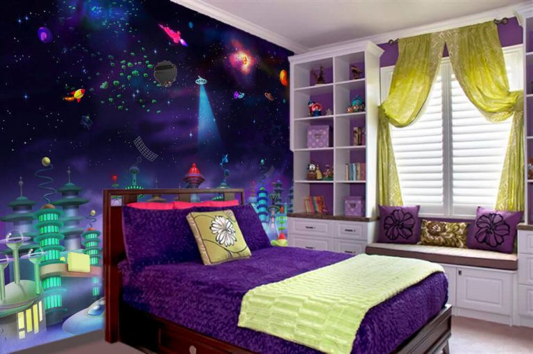Space Bedroom Theme Design Ideas For Girls Bedroom Outer Space Bedroom Space Themed Bedroom Bedroom Themes