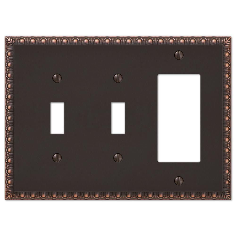 Amerelle Antiquity 3 Gang 2 Toggle And 1 Rocker Metal Wall Plate Aged Bronze 90ttrvb The Home Depot Plates On Wall Wall Switch Plates Electrical Box Cover