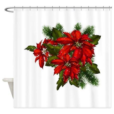 SPARKLING POINSETTIAS Shower Curtain