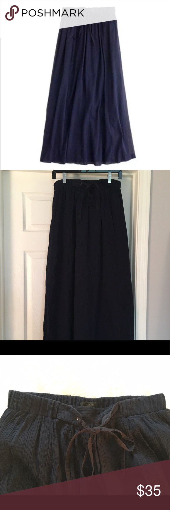 "J Crew navy gauze maxi skirt A beautiful lightweight maxi skirt, perfect for hot weather! Navy gauze/cotton material. Size small. Drawstring waist. 35 1/2"" long, falls to the floor. J. Crew Skirts Maxi"