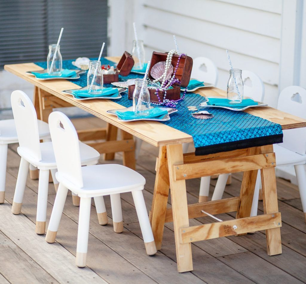 Playful Party Hire Supplies Party Hire Auckland Party Hire Kids Wooden Table Party Table Cloth