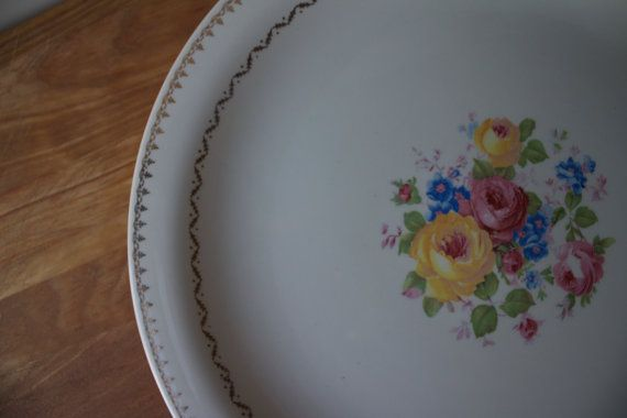 Crookstone China Co. Platter with Roses by RefabedChic on Etsy