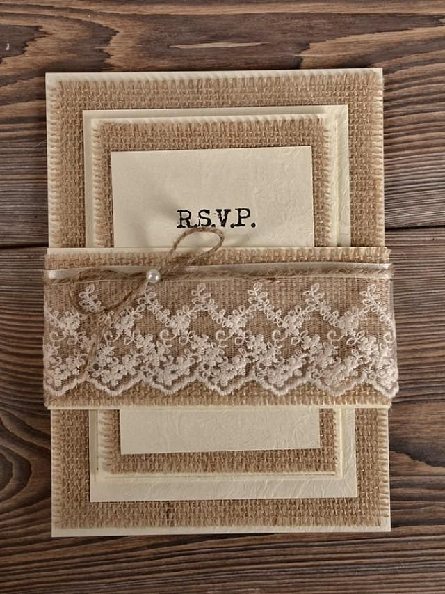 Custom listing (100) Natural Burlap Wedding Invitation, Country ...