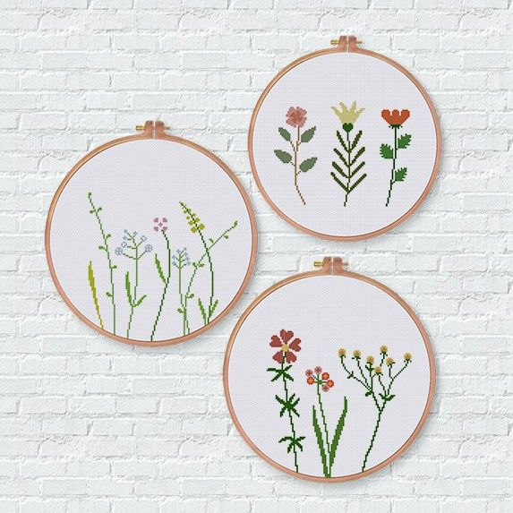 Photo of Modern wildflower cross stitch pattern easy natural flower cross stitch kit