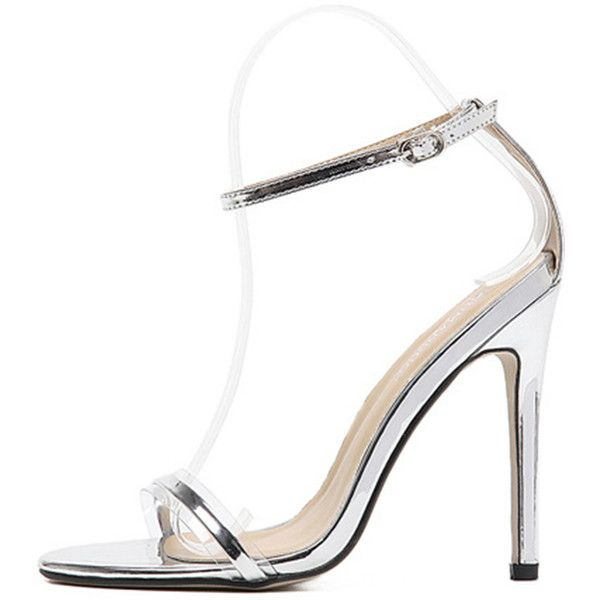 04badb0518e Silver Sliver Clear Open Toe Ankle Strap Stiletto High Heels (1