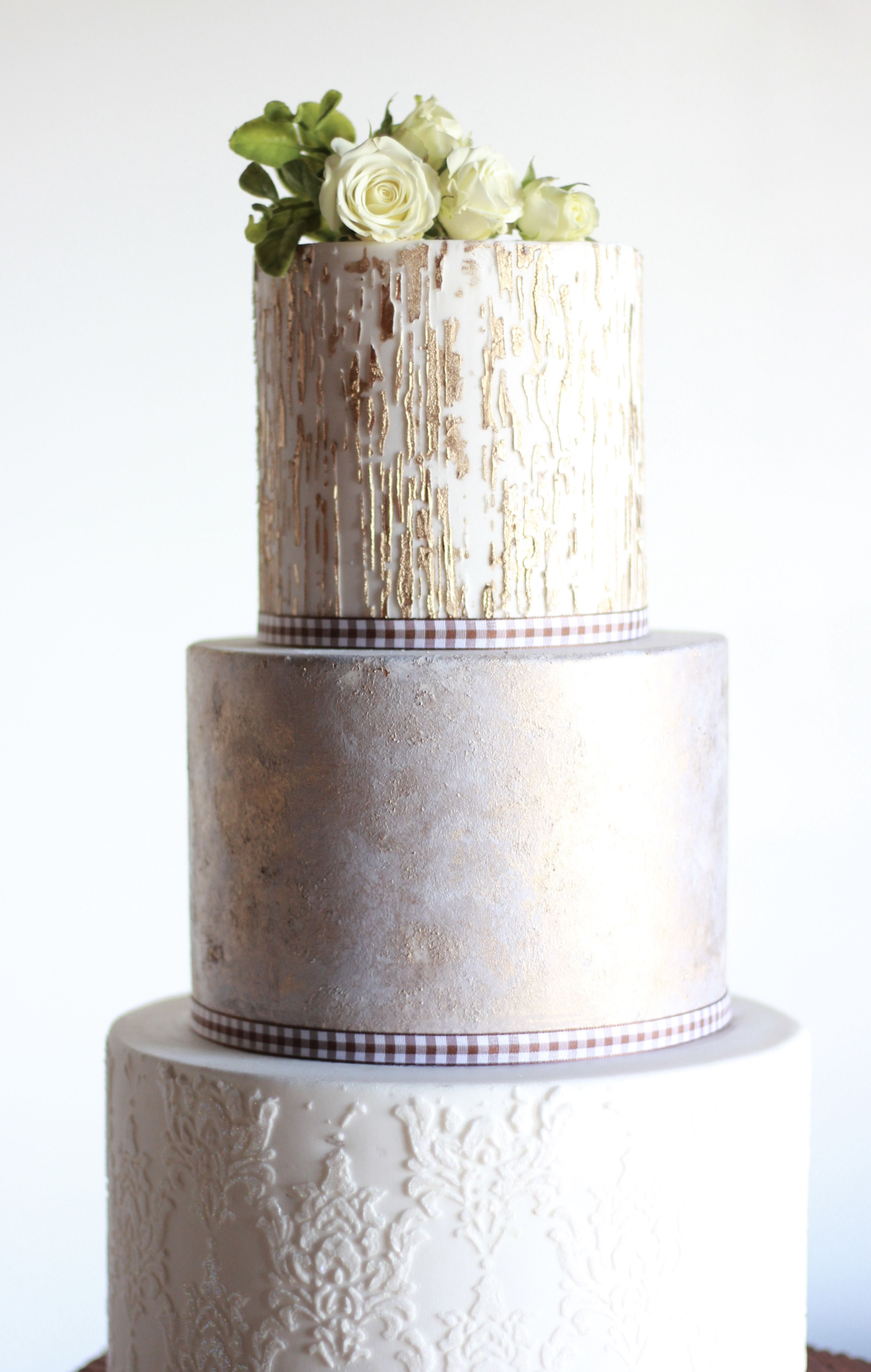 Rustic Textured Wedding Cake created with Renshaw Fondant and ...