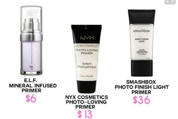 Dupe Smashbox Photo Finish Light Primer Nyx Cosmetics Photo Loving Primer Elf Cosmetics Mineral Nyx Cosmetics Smashbox Photo Finish Primer Elf Cosmetics
