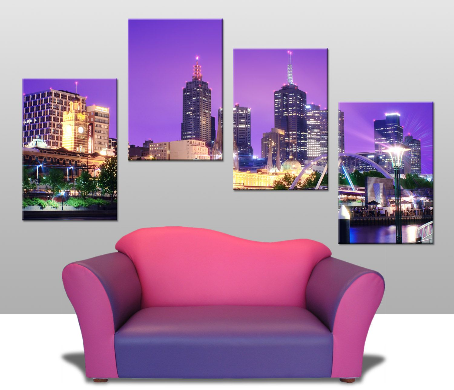 This 4 Panel Split Canvas Features A Colourful Photograph Of
