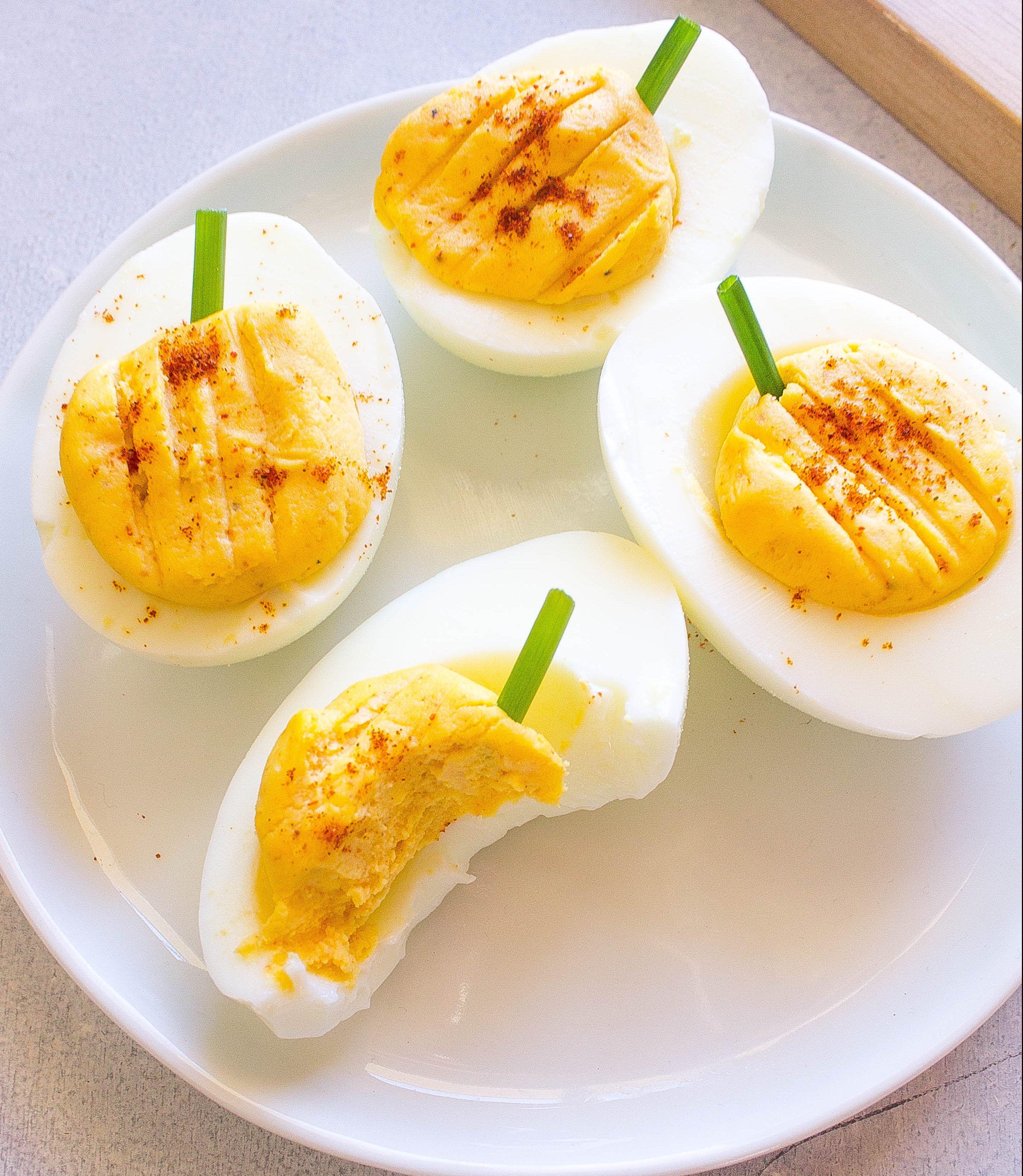 Halloween Pumpkin Deviled Eggs Recipe Deviled eggs