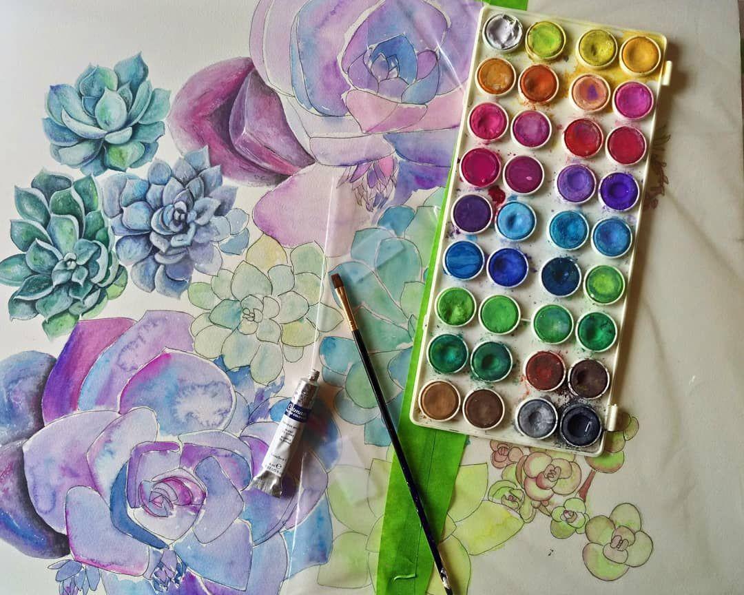 Work In Progress On Original Watercolor Succulent Painting
