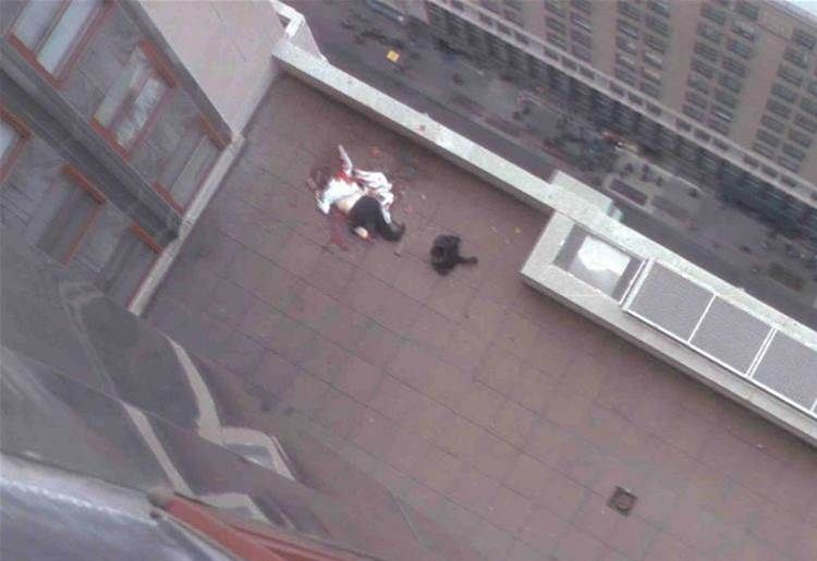 9/11 jumper hitting ground. He landed on top of one of the ...