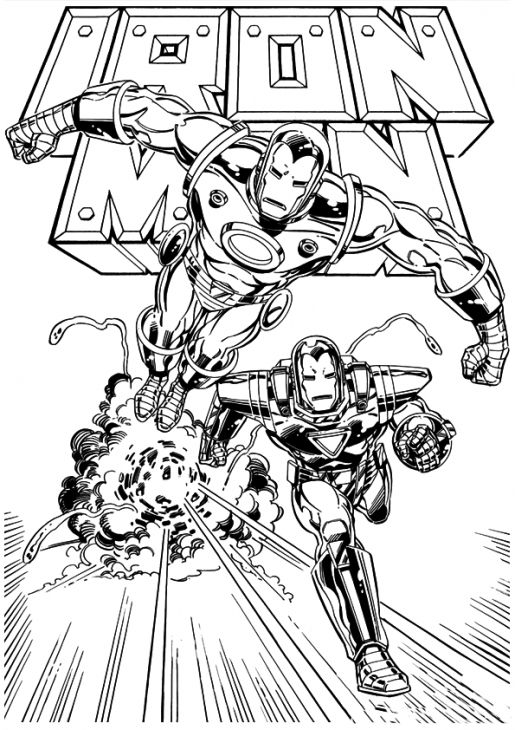 free printable coloring sheet of iron man for kids