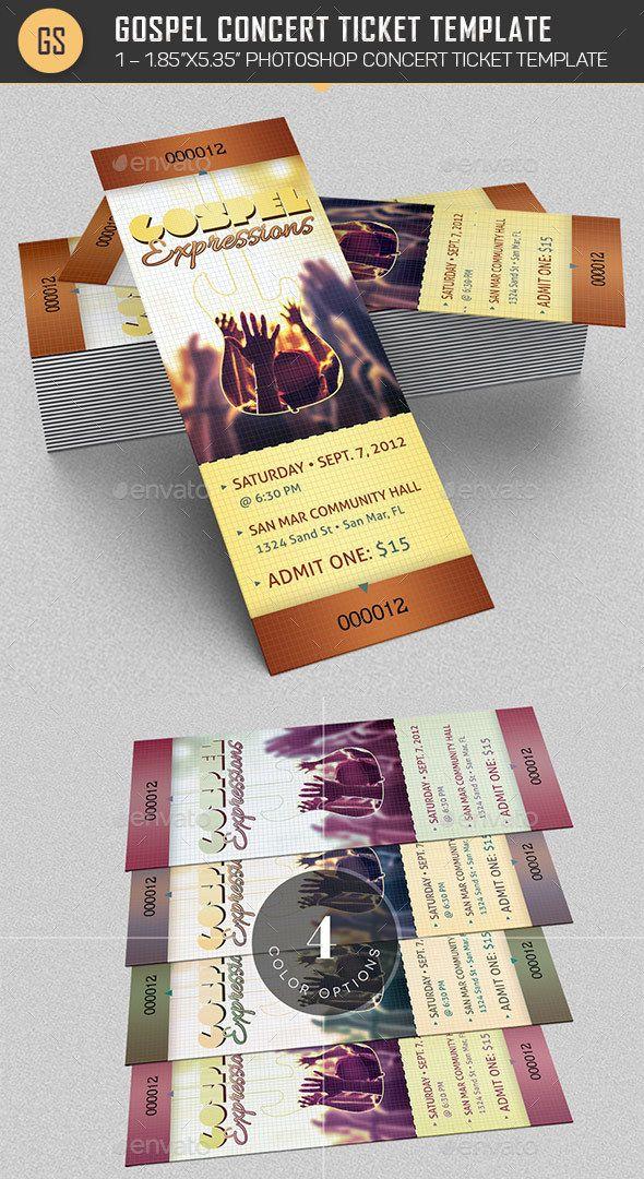 Gospel Concert Ticket Template | Concert ticket template, Gospel ...