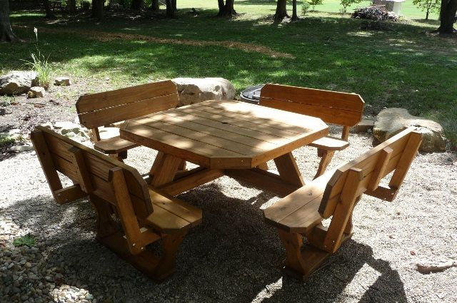 Square Picnic Table Plans Octagon Round Wooden Tables