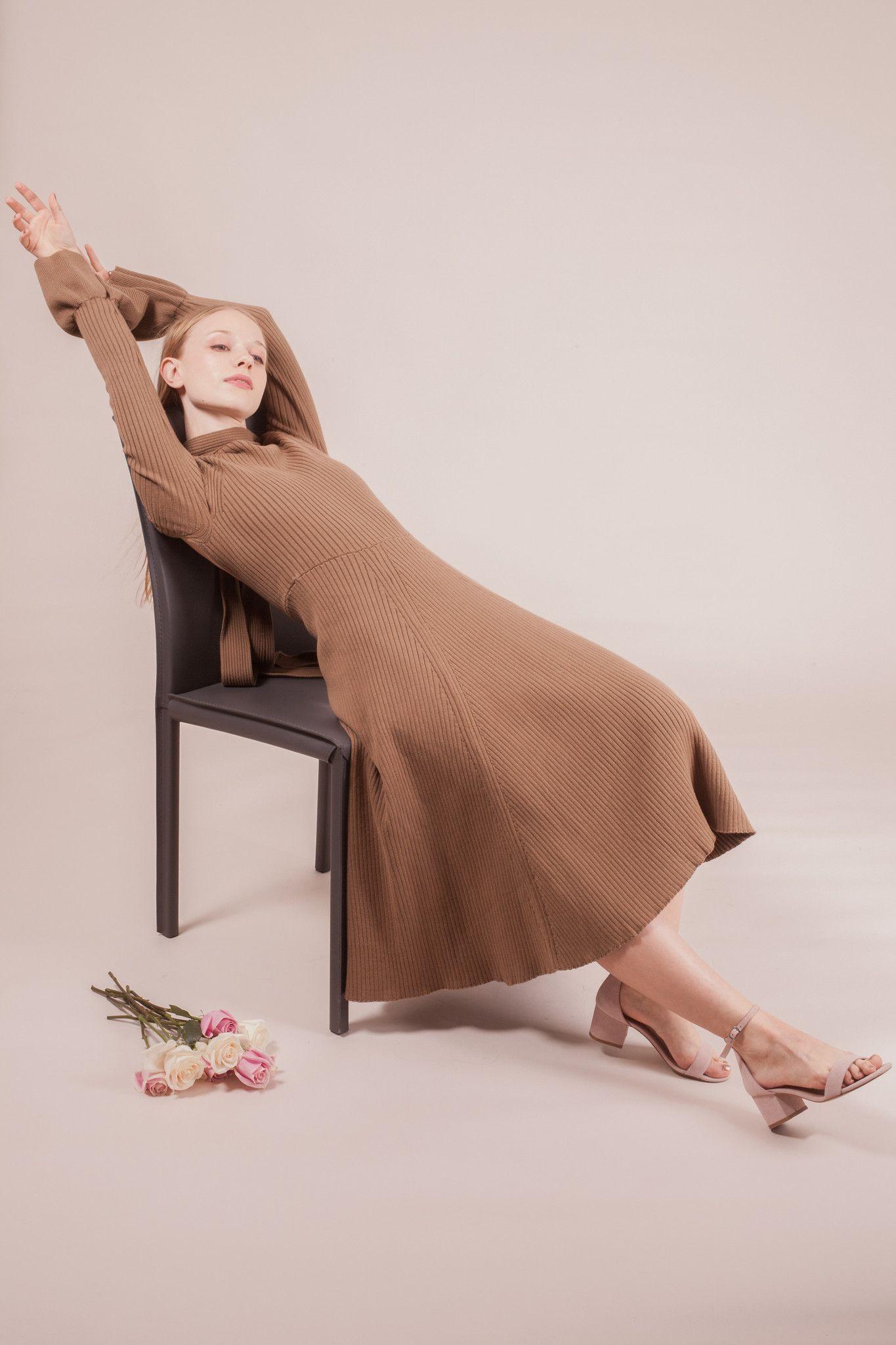 Verdi Knit Dress -Brown