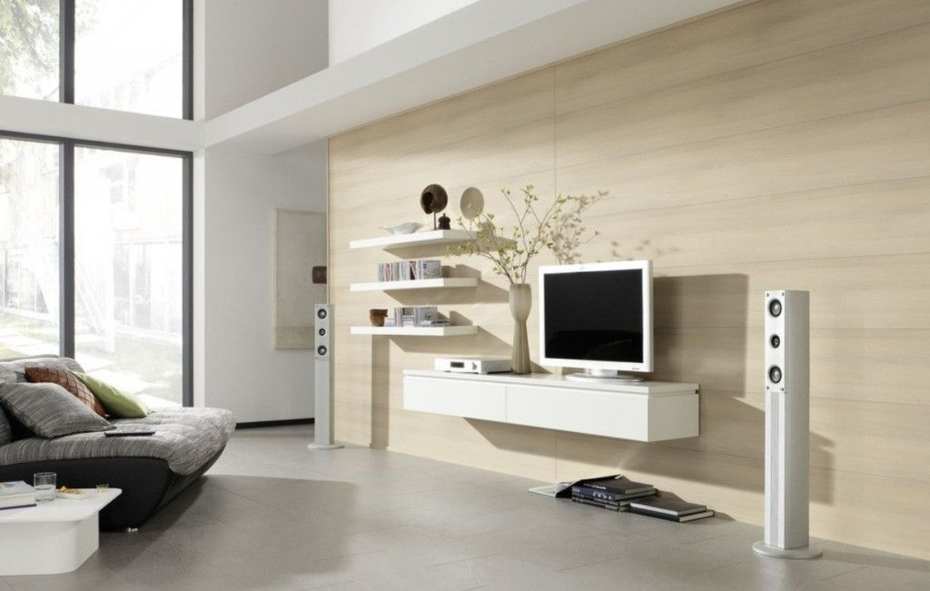 Elegant Home Living Room Design With Tv On Wall And Combine Floating White Wooden Cabinets