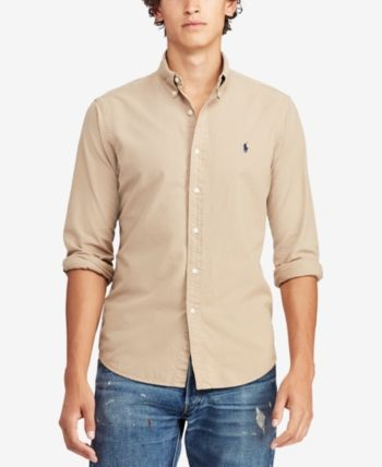 98f53399 Polo Ralph Lauren Men's Classic Fit Garment Dyed Oxford Shirt - Surrey Tan  XXL