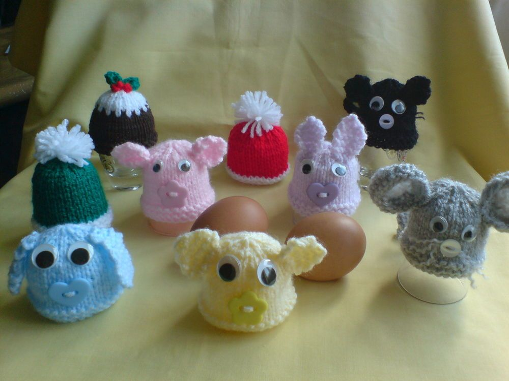 Egg cosy cozy knitted animal gifts cat mouse pig rabbit