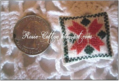 Miniature Poinsettia Cross Stitch Pillow by RosieCotton, via Flickr