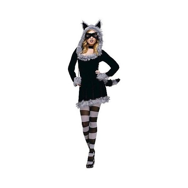 Women's Raccoon Costume ($57) ❤ liked on Polyvore featuring costumes, black, halloween, ladies costumes, raccoon costume, tail costume, lady costumes and party costumes