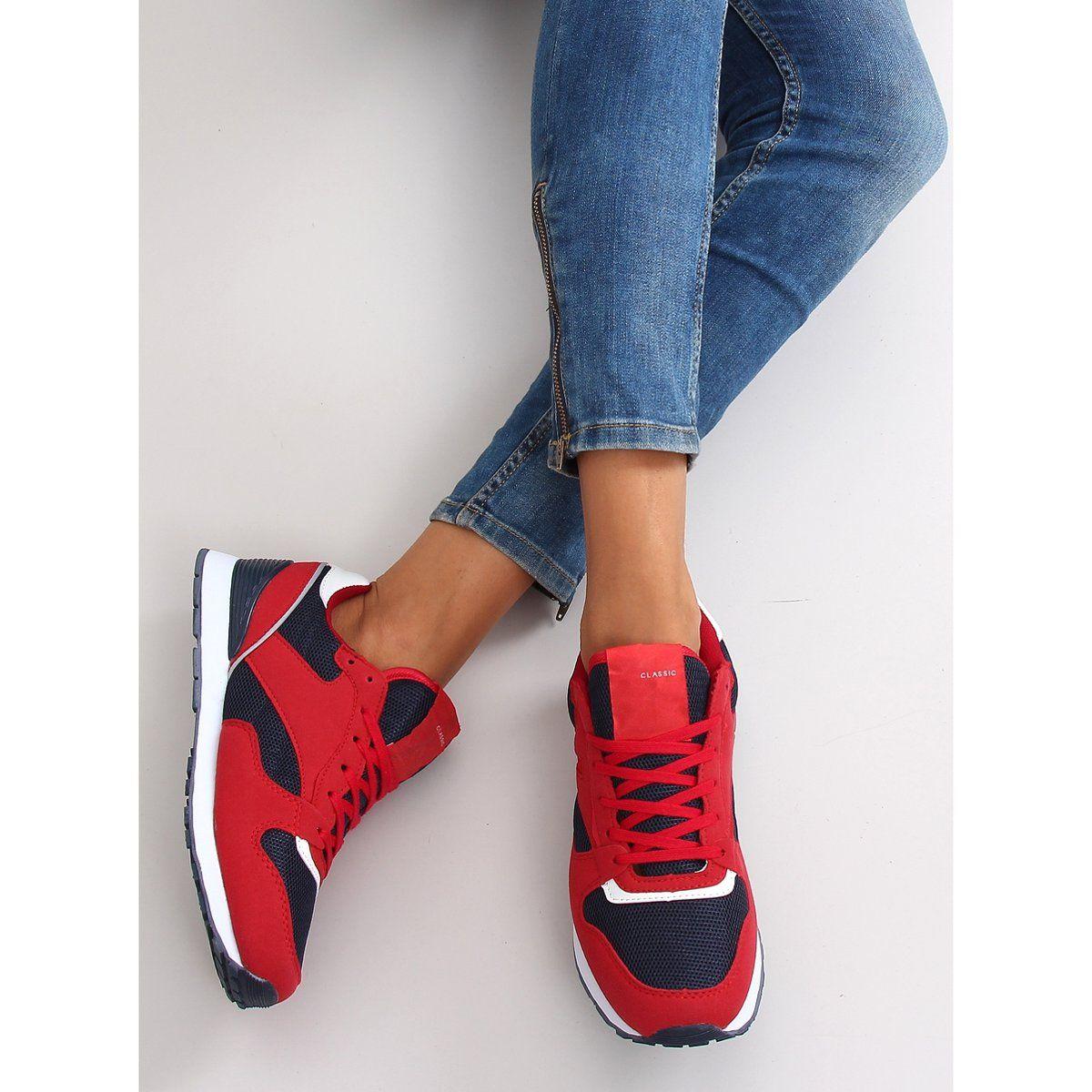 Buty Sportowe Super Wygodne D81 Red Navy Czerwone Sneakers Hummel Sneaker Shoes