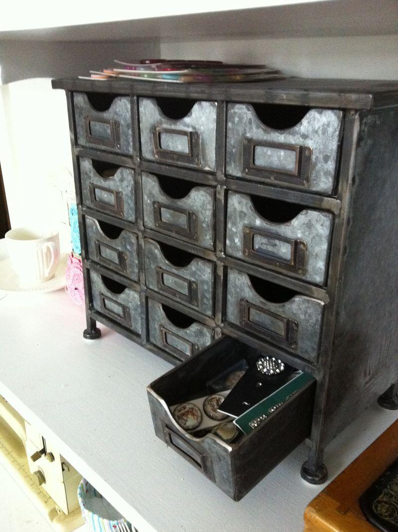 Hobby lobby 12 drawer metal organizer storage things i for Hobby lobby jewelry holder