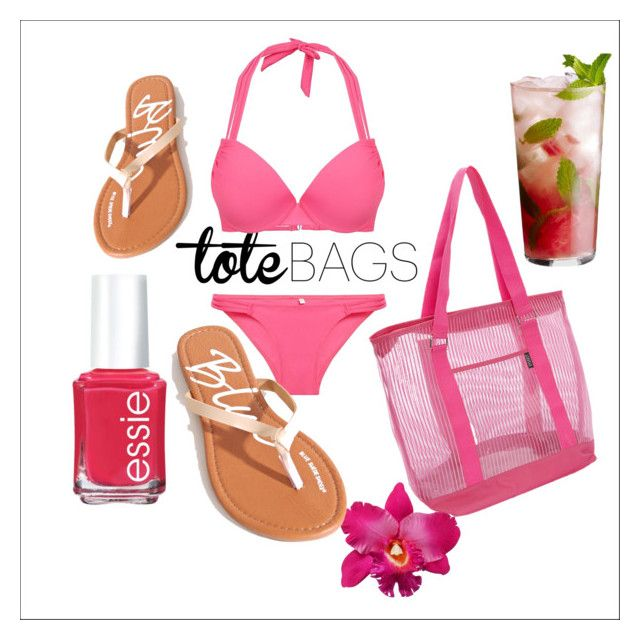 """""""totebag"""" by melinakarin ❤ liked on Polyvore featuring Disney, Essie, Everest and beachtotes"""