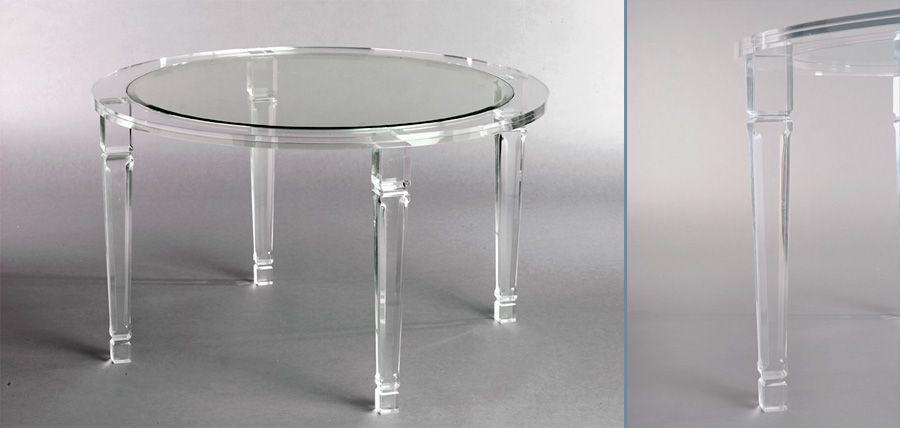 Philipe Round Acrylic Dining Size 50 Round With Inset Bevel