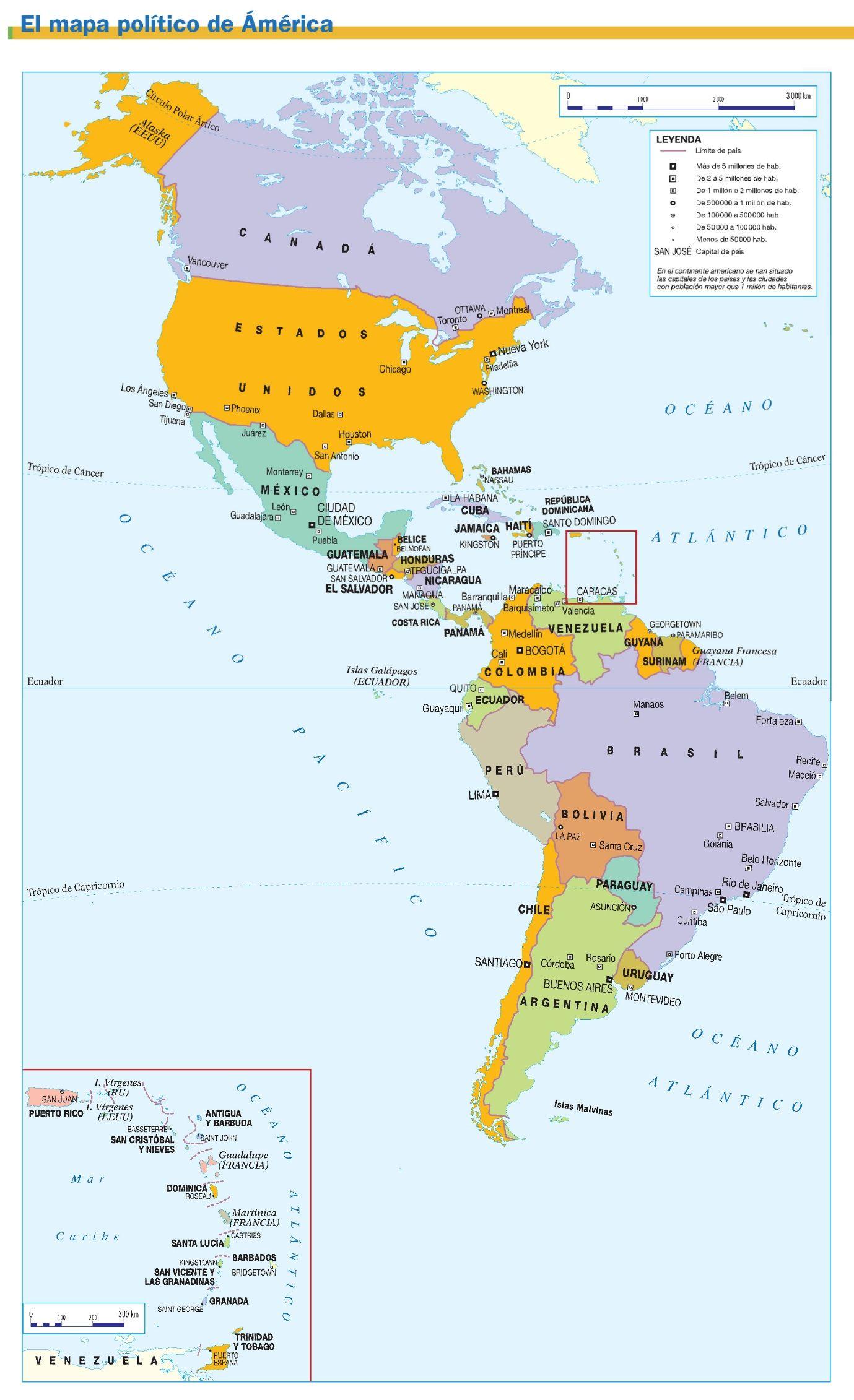 Mapa Político De América Mapa De America Mapas Mapa Politico