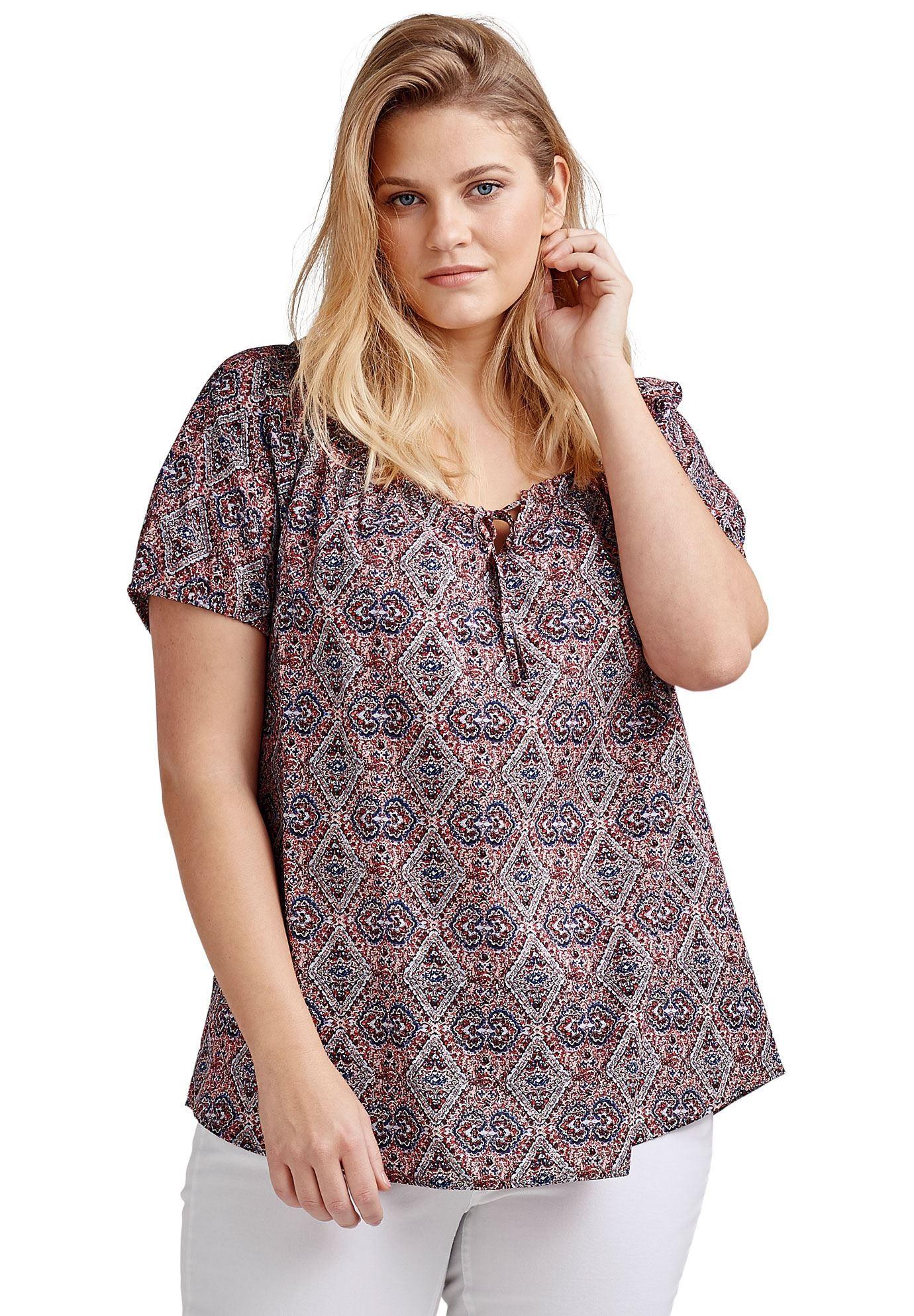 f9e9ff5389d Products · Keyhole Neckline Peasant Blouse by ellos - Women s Plus Size  Clothing