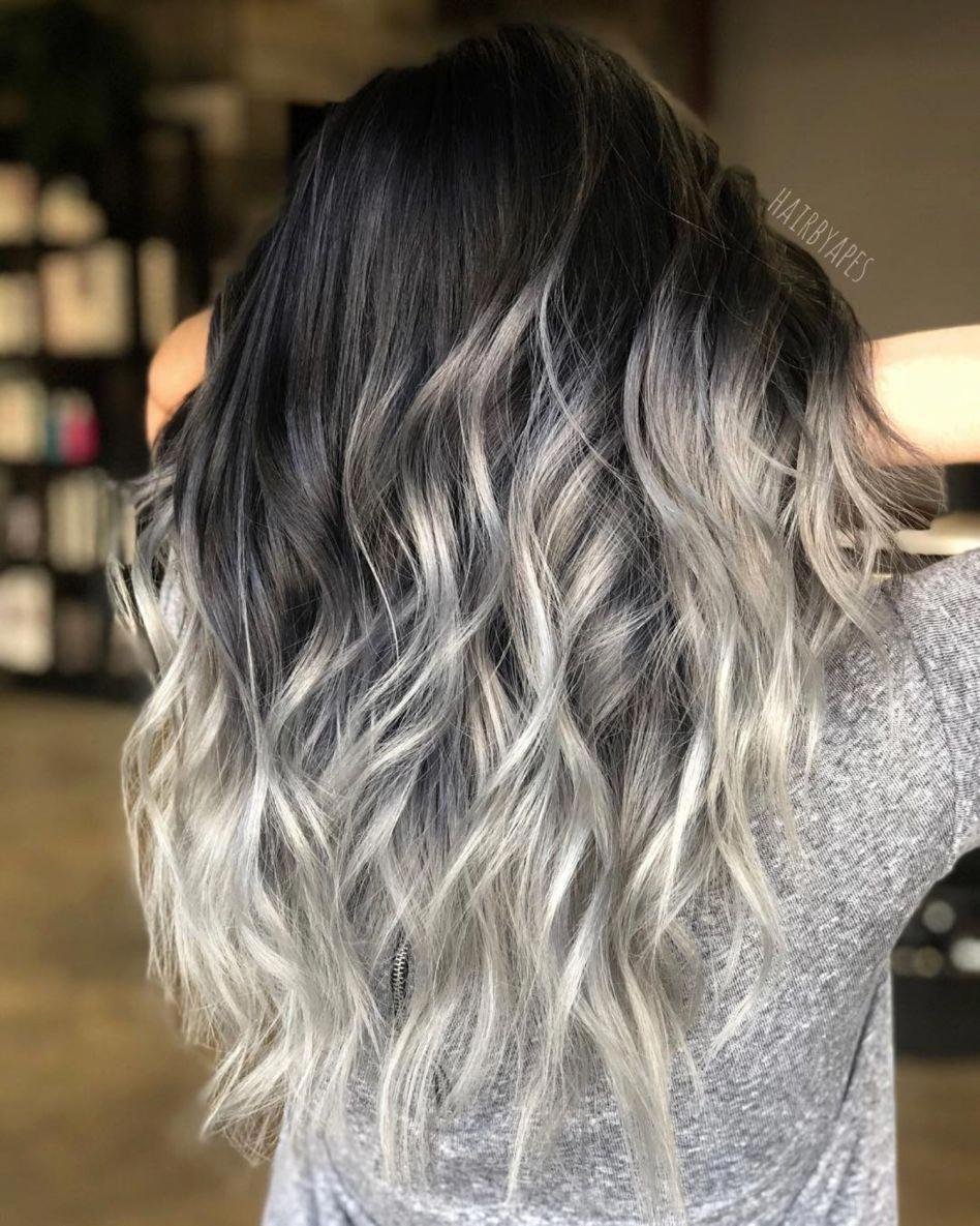 Half Black Half Silver Balayage Long Hair Hairbeauty Balayage Long Hair Hair Color For Black Hair Silver Ombre Hair