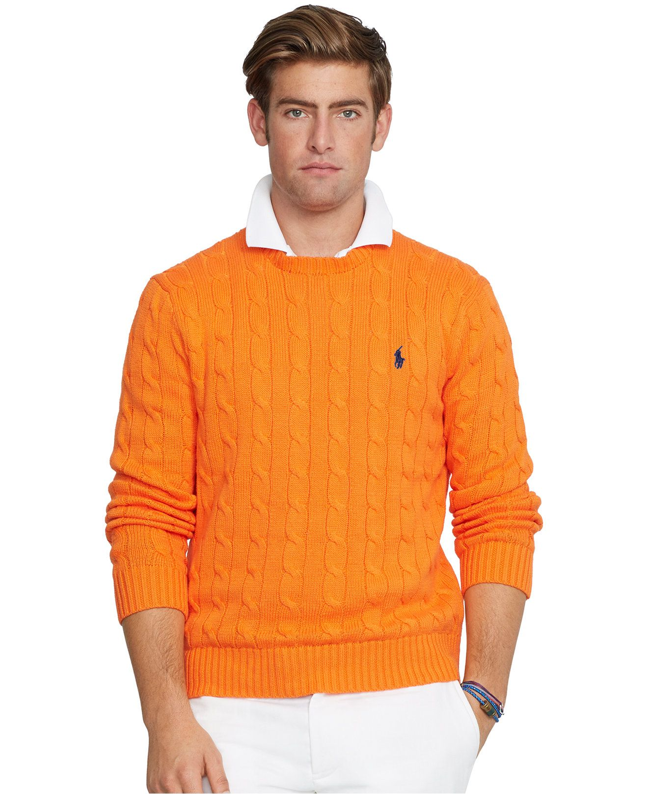 Polo Ralph Lauren Cable-Knit Crewneck Sweater - Sweaters - Men - Macy's