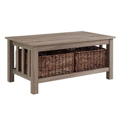White Oak Coffee Table With Storage Baskets Driftwood