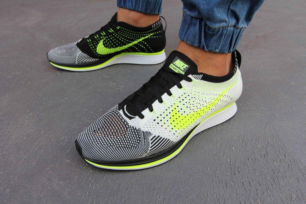 Men's Nike Flyknit Racer Sail Volt Black Sneakers : G32n4094