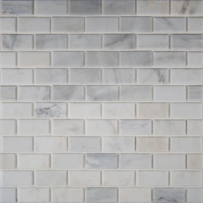 Ms International Greecian White 12 In X Polished Beveled Marble Mesh Mounted Mosaic Floor And Wall Tile Gre 2x4pb The Home Depot