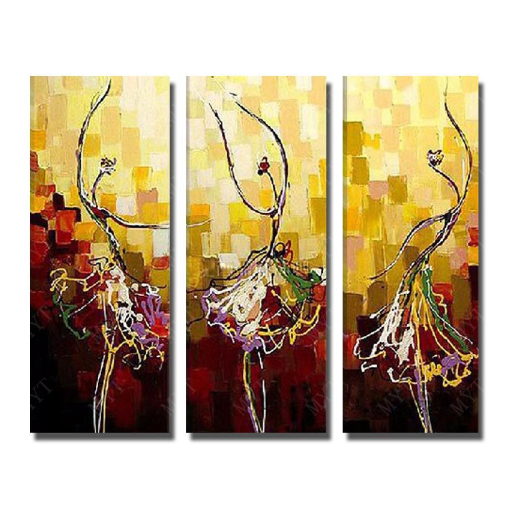 3 Peices House Painting Hand Painted Beautiful Girl Dance Oil ...